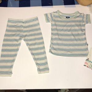 Kickee Pants-2pc pajama set-striped-NWTS-Sz 6-12M
